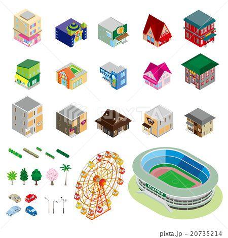様々な建物 立体図のイラスト素材 No 20735214 写真素材 イラスト