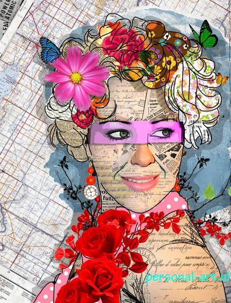 Personal Art patch collage pop art portret, dit portret hebben we ontworpen…