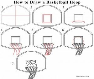 How To Draw A Basketball Hoop Step By Step Basketball Drawings Sports Drawings Drawing Tutorial