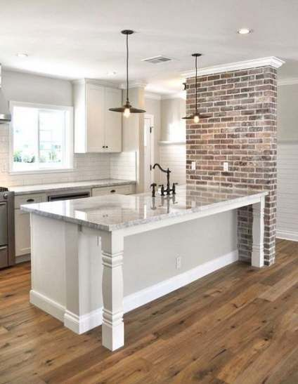 32 Ideas Kitchen White Brick Wall Range Hoods For 2019 Brick Wall Kitchen Exposed Brick Kitchen Accent Wall In Kitchen