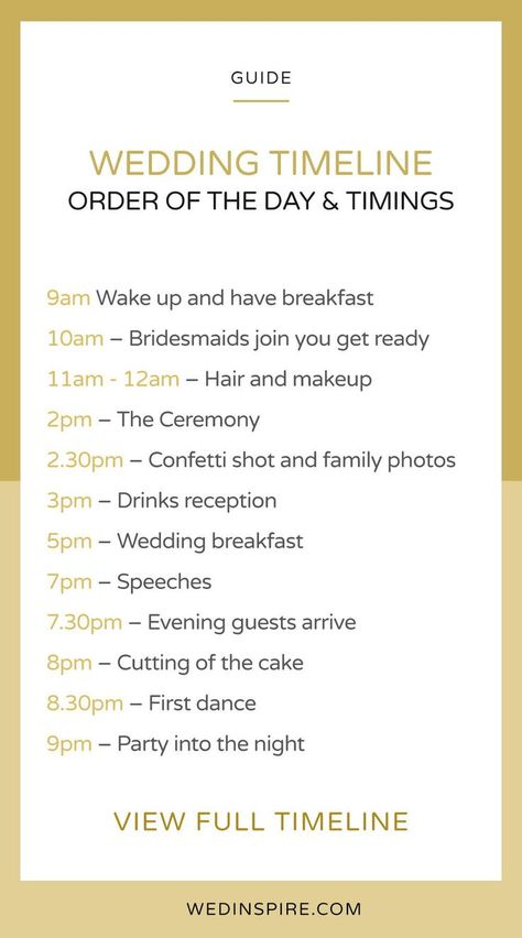 Wedding Day Timings Order Of The Day Wedding Schedule Timeline