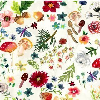Mushroom Foliage Floral Fabric Dear Stella Fabric Dear Stella Floral Fabric