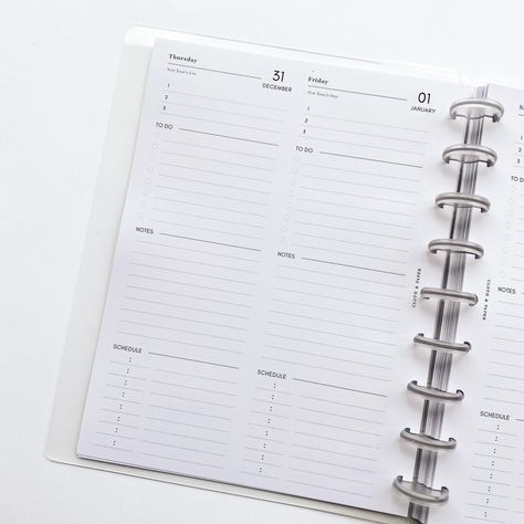 2021 Dated Planner Inserts Daily In 2020 Planner Inserts Planner Daily Page