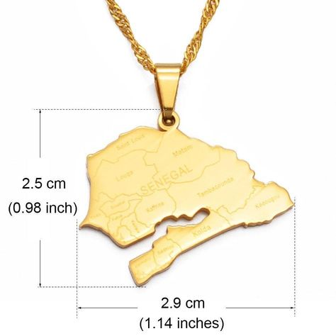 Beautiful Senegal map necklace. Made from high quality stainless steel and coated in gold, the beautiful pendant is detailed with Senegal cities and comes on a beautiful waterway gold chain ✨ 🌸 For other Country Necklaces check out: www.etsy.com/uk/shop/SHOPELXNAY?ref=seller-platform-mcnav&section_id=24183029 ______________________________________________ Dispatch time - This is the amount of time it takes for us to get your order packaged and popped into the postage system! Shipping time -