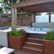 Roof Deck With Hot Tub Pergola Planters And Ipe Decking Hot