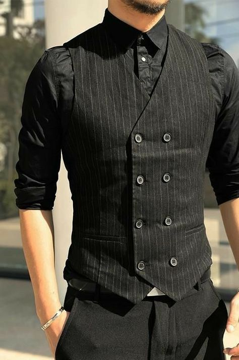 Autumn Slim Striped DoubleBreasted Suit Vest ZORKET zorket is part of Stylish mens outfits - Costume Slim, Mode Costume, Mens Suit Vest, Mens Suits, Guys In Suits, Dress Suits For Men, Waistcoat Men, Suit Jacket, Black Tie Attire