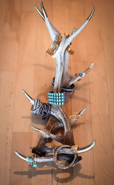 DIY antler jewelry display