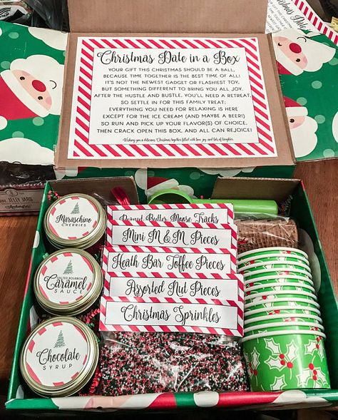 This Christmas-themed Ice Cream Sundae Bar in a Box is a perfect gift for a family, a couple, or that person who seems to have everything. This listing includes Microsoft Word files with COMPLETELY EDITABLE TEXT, links for free downloads of the fonts used in the pictures above, and