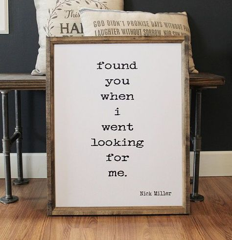 Found You When I Went Looking For Me Wood Framed Sign #rusticwoodsign #farmhousedecor #ad