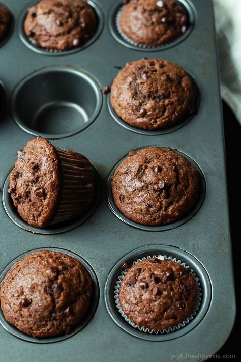 No Sugar, crazy moist, loads of chocolate flavor with great banana taste. These Skinny Double Chocolate Banana Muffins are the muffins of your dreams! | joyfulhealthyeats.com #recipes Easy Healthy Recipes: