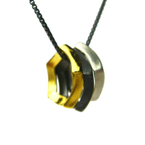 Sarah Loertscher // gold/silver/black //triple lucy pendant