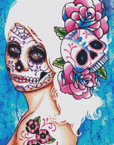day of the dead cross stitch patterns free | Cross Stitch Kit by Carissa Rose 'Empty Promises' Day of the Dead ...