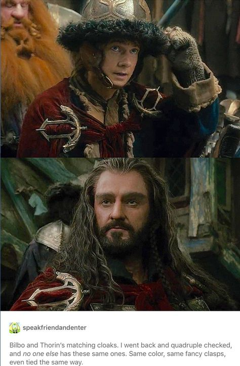 Thorin and Bilbo wearing the same red cloak with elaborate fibulae. >This is my Hobbit, I want us to match. Baggins Bilbo, Thorin Oakenshield, Thranduil, Legolas, Bagginshield, O Hobbit, J. R. R. Tolkien, Desolation Of Smaug, Fili And Kili