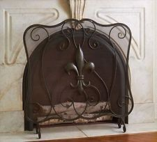 Metal Fleur de Lis Fireplace Fireplace Screen