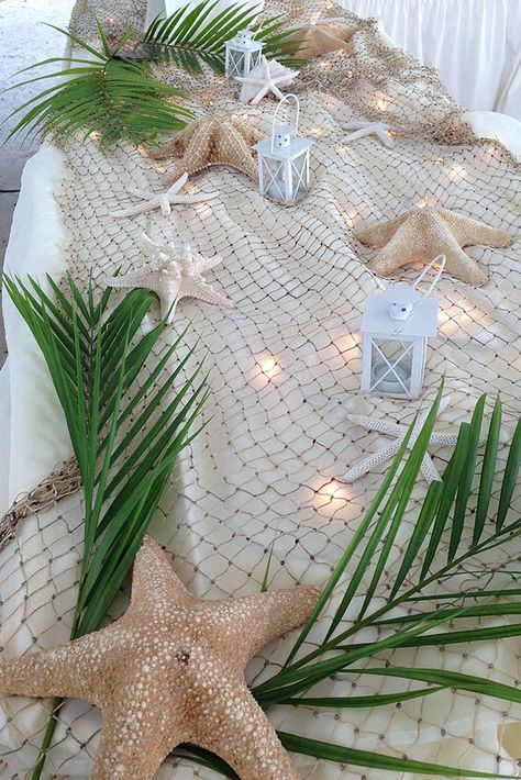 Beach Themed Table Decorations For Weddings Theme Centerpieces Wedding Party Decoration Ideas Starfish Island Decor Luau Hawaiian Theme, Hawaiian Luau, Cheap Wedding Decorations, Beach Table Decorations, Beach Party Decor, Beach Theme Centerpieces, Beach Theme Parties, Hawaiin Party Decorations, Nautical Decor Party