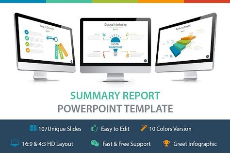 Business Plan Powerpoint Template by Rocketo Graphics on - summary report template