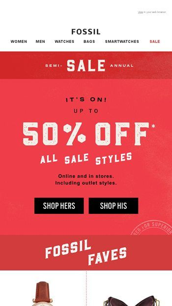 Fossil Com Fossil Sale Emails Email Newsletters