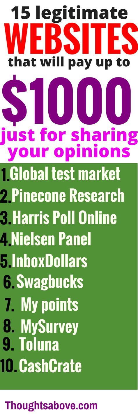 Make Money online answering surveys Earnings