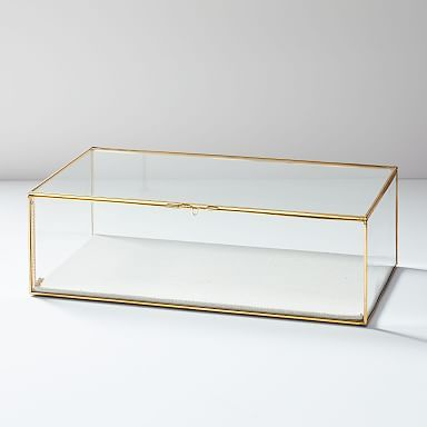 Terrace Shadow Box Brass Large Rectangle Glass Shadow Box Modern Jewelry Box Jewelry Organizer Box