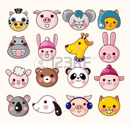Set Of Cute Cartoon Round Animals Vector Zoo Stickers Cartoon Baby Animals Cartoon Animals Cute Animal Drawings