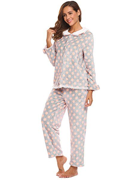 Damen Schlafanzug Hausanzug Pyjama Set Nacht Langarm Hemd+Hose Pink DE