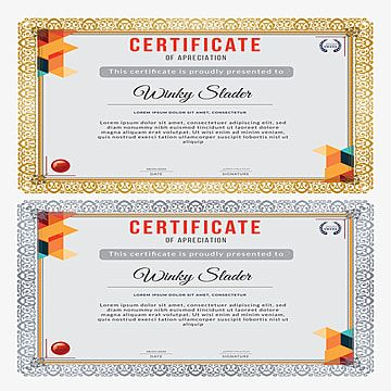 قالب شهادة تقدير أفقي حديث Award Template Certificate Of Appreciation Templates