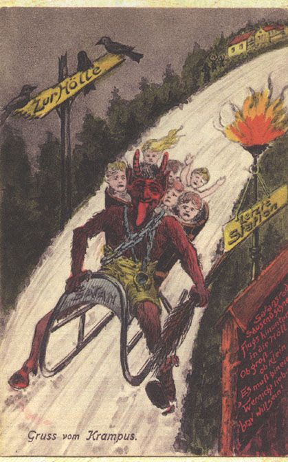 """Krampus lore has it that, if a child's reputation for naughtiness was bad enough, they might even be snatched by the Krampus, put into the basket on his back, and either taken to a nearby river and drowned, or perhaps even be taken back to Hell with him. (This whimsical little """"tradition,"""" of course, from the culture that brought us the children-eating witch in Hansel and Gretel.) Note the """"Satan"""" label on the bumper of this Krampus' sled, and the """"Zur Holle"""" traffic sign on the left… """"To Hell."""""""
