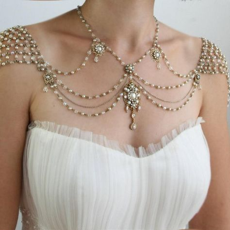 Gem-Infused Body Jewelry - The 'My Little Bride' Inspiration Shoulder Necklace is Delicate (GALLERY) Beautiful!