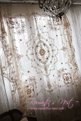 Lovely Tambour lace bedcover in the window ~❥