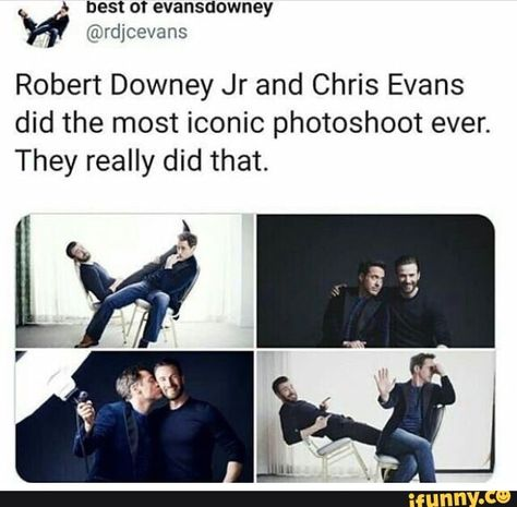 Robert Downey Jr and Chris Evans did the most iconic photoshoot ever. They really did that. – popular memes on the site iFunny.co #chrisevans #celebrities #robert #downey #jr #chris #evans #did #iconic #photoshoot #ever #they #really #pic