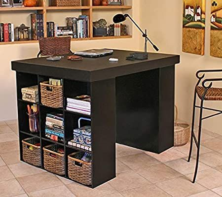 Project Center Desk With 2 Bookcase Sides Black Kitchen Dining Craft Tables With Storage Craft Room Office Craft Storage Furniture