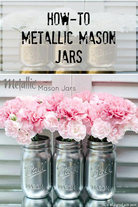 How to ~ Metallic Mason jars
