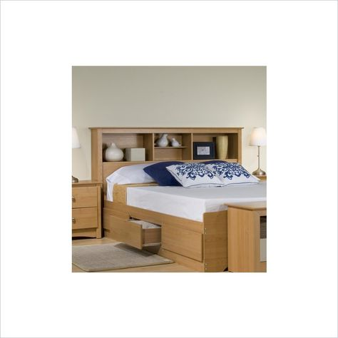 Prepac Sonoma Maple Full Wood Platform Storage Bed 3 Piece Bedroom