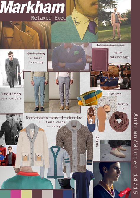 Students had the opportunity to research brewing trends for Autumn/ Winter 2014-15 and apply their findings into a Key Items board. #trend #leisure #menswear