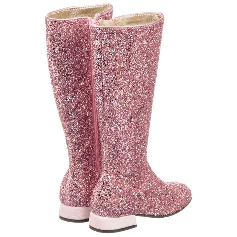 Monnalisa - Girls Pink Glitter Boots