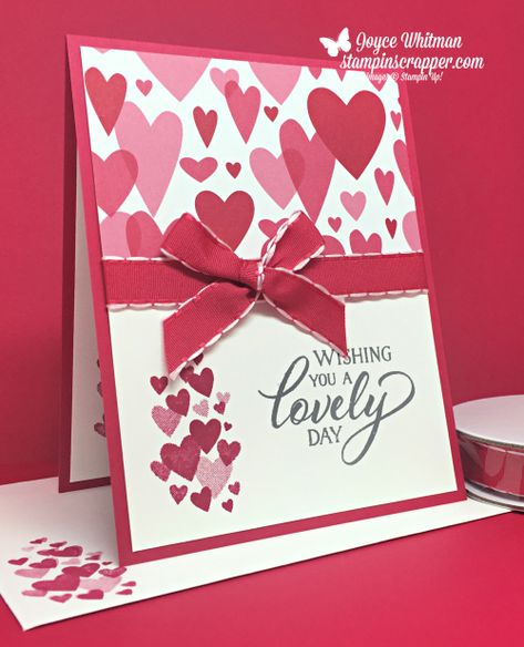 Stampin Up, Stampin' Up! Forever Lovely stamp set #148624, All My Love Ribbon Combo Pack #148584, All My Love designer series paper #148576, created by Stampin Scrapper, for more cards, gifts, ideas, scrapbooking and 3D projects go to stampinscrapper.com. Joyce Whitman