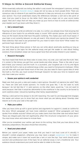 5 Steps to Write a Decent Editorial Essay