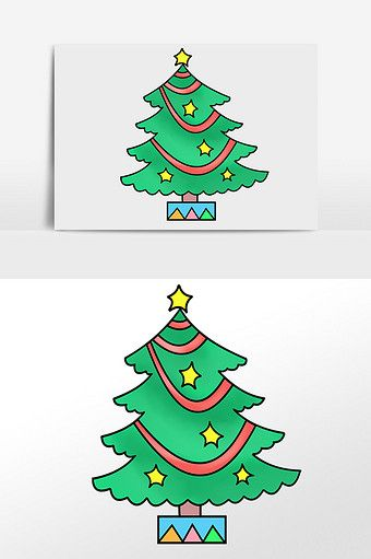 Hand Drawn Christmas Christmas Decoration Twinkle Lights Tree Illustration Element Pikbest Graphic Ele Tree Illustration Xmas Decorations Christmas Decorations