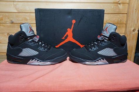 newest b6899 a6994 Nike Air Jordan 5 Retro OG Black Metallic Silver Fire Red White Size 9  (1806)