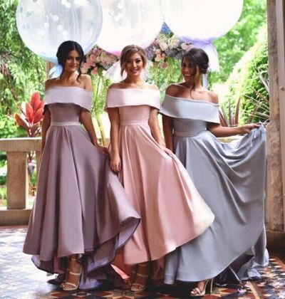 Off Shoulder Simple Bridesmaid DressNew Arrival Custom Dress Wedding Party DressesLong Bridal Gowns BD14356