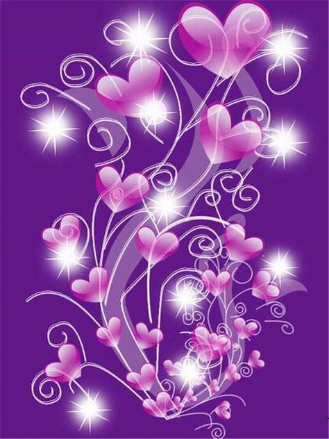 5D DIY Diamond Painting. Purple Sparkly Hearts Bouquet. Round drill, 7 kit sizes to pick from.