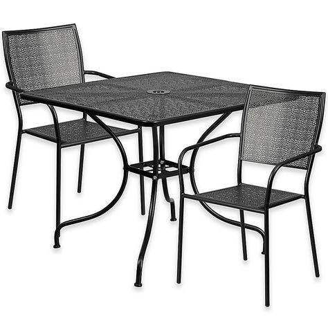 Flash Furniture 3 Piece Steel Indoor Outdoor 35 5 Square Square
