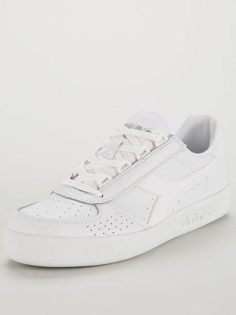 Diadora Men/'s B White Elite Leather Trainers