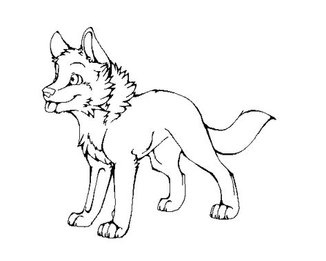 Wolf Pup Lineart By Machinewolf2 On Deviantart Cute Wolf