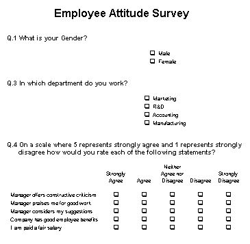 Employee Attitude Survey Example Survey Example Pinterest - employee advance form