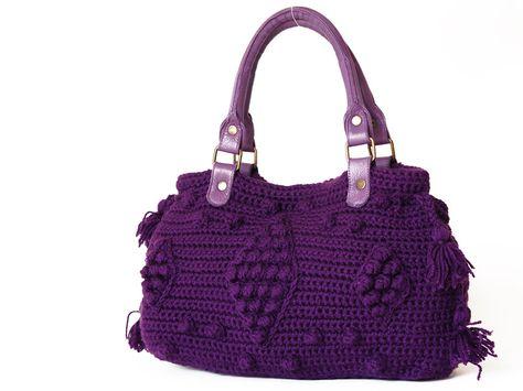 purple Shoulder Bag Celebrity Style With Genuine Leather Straps / Handles hand bag hand made-crochet bag