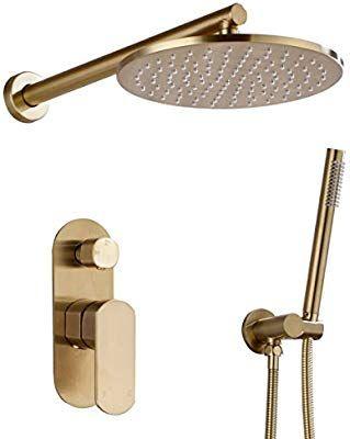 Trustmi Badezimmer Runde 20 3 25 4 Cm Durchmesser Messing Dusche Wasserhahn Set Mix Mit Verdeckter 2 Wege Umstellventil Kit Gold Wasserhahn Badezimmer Dusche