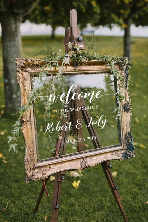 Wedding Welcome Sign /Personalized Couples Names and Dates/Mirror Decal-Bridal Shower/Wedding Welcom