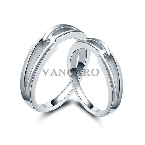 New Simple Design 925 Sterling Silver White Gold Plated Couple