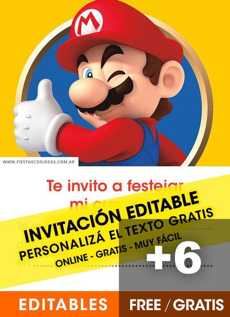 6 Invitaciones De Super Mario Bros Gratis Para Editar